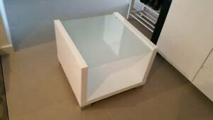 Side or coffee table, glass top, white gloss