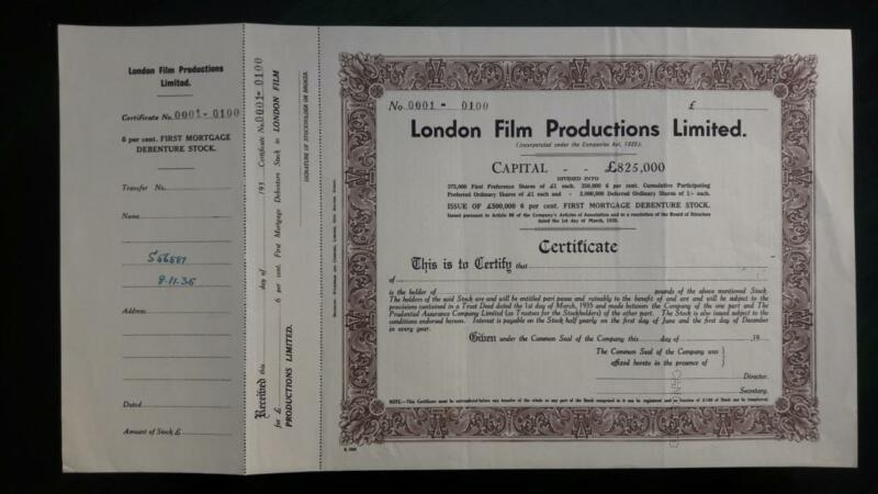 UK England London Film Productions Ltd Bradbury specimen share 1936 WWII stock
