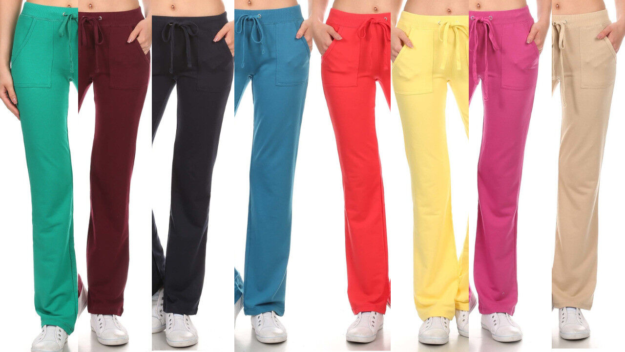New Solid Plus Size French Terry Cloth Tie Waist Sweat Pants