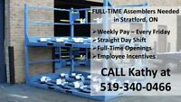 Assembly Workers needed in Stratford- call 519-340-0466