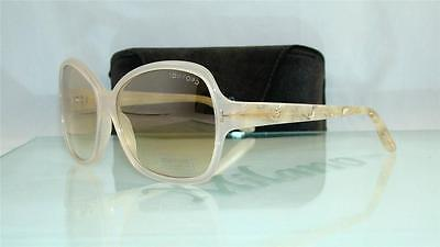 18a1a8231c97 Tom Ford Nicola TF 229 24G Pearl Beige Sunglasses Light Brown Gradient Size  60