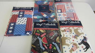 Vinyl Tablecloth Memorial Day 4th of July 5 Styles Red White Blue 4 Size Pic NEW (Blue Vinyl Tablecloth)