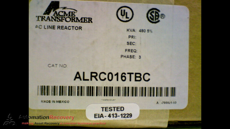 ACME TRANSFORMER ALRC-016TBC, LINE REACTOR, 3 PHASE,  480 VOLTS,, NEW #166799