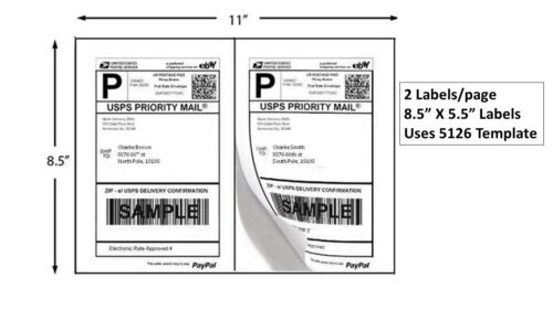 "200 Premium 8.5"" X 5.5"" Half Sheet Self Adhesive Shipping Labels Made in USA"