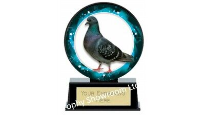 VIBE PIGEON TROPHY AWARD 120mm PIGEON RACING BLACK PLASTIC FREE ENGRAVING