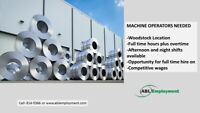 Machine Operator positions available in Woodstock- 519-914-5366