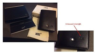 GENUINE MONT BLANC BUSINESS/CREDIT CARD CASE (EMBOSSED WITH INITIALS 'GL') BNIB