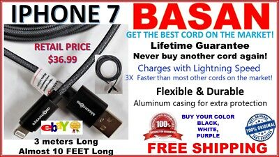 10FT CELL PHONE DATA CABLE BEST CHARGING CORD LIFETIME NEVER BUY AGAIN IPHONE