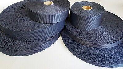 2m, 6m oder 12m Gurtband marineblau 10, 15, 20, 25, 30, 40, 50mm Marine 10