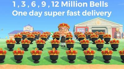 ANIMAL CROSSING NEW HORIZONS BELLS 3 6 9 12 MILLION FAST DELIVERY
