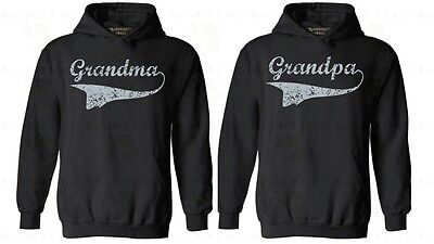Couple Hoodie Grandma Grandpa Anniversary Gift for Her Him Sweatshirt Hooded - Black Hood Granny