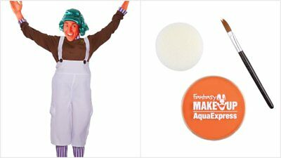 MENS LADIES ADULT OOMPA LOOMPA UMPA LUMPA CHOCOLATE FACTORY FANCY FACE PAINT WIG (Umpa Lumpa Kostüm)