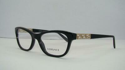 Versace 3212-B GB1 Black & Gold Brille Glasses Eyeglasses Frames Size 52