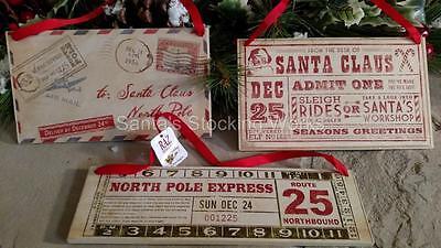 "NWT 10"" Polar Express Train Ticket Santa Letter Sleigh Ride XMAS Orn 3 pc set"