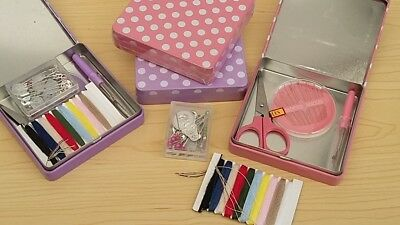 Mini Essentials Kit (New-Complete Mini Sewing Kit of Essentials in Handy Polka Dot Tin Lilac or Pink)