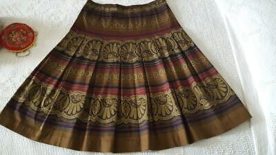 WOMAN HAROLD'S BROWN PAISLEY PLEATED STRETCH SKIRT SZ 8, HIGH QUALITY, UNLINED Pleats Unlined Skirt