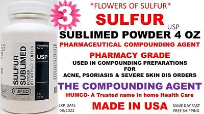 Humco Sulfur Sublimed Powder Usp 4 Oz Flowers Of Sulfur Exp. Date 082022 3