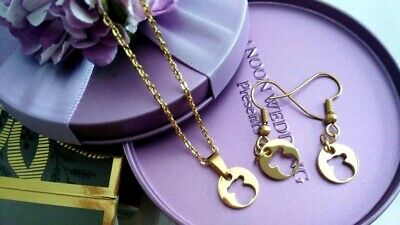 Adorable Stainless Steel Gold Teddy Bear Jewelry Set: Necklace & Dangle - Adorable Necklace Set