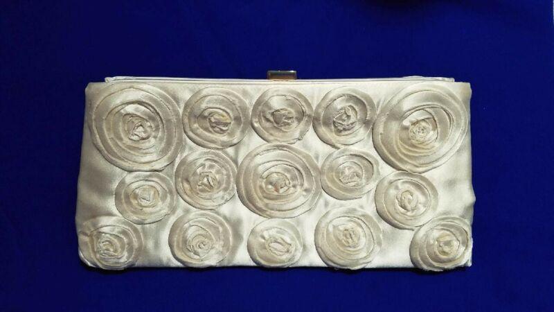 VTG/J.CREW - Brides/HAND MADE SILK SWIRLS(Florals)FORMAL CLUTCH PURSE Ivory/Gold