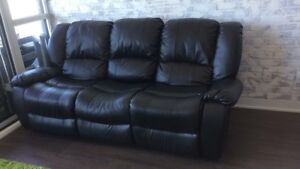 Leather recliner sofa couch