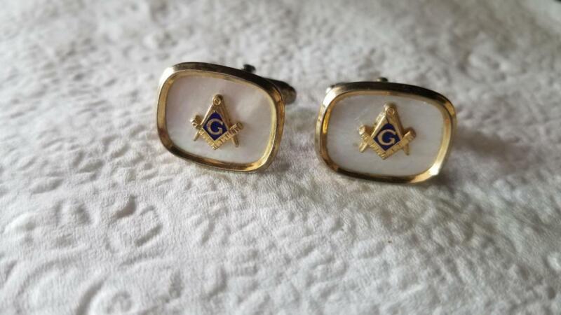 Pair Anson Free Mason Masonic Mother Of Pearl Cufflinks