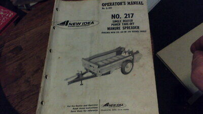Avco New Idea Operators Manual No. 217 Manure Spreader