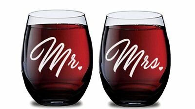 Mr and Mrs Stemless Wine Glasses for Bride and Groom Wedding Celebration (Set of