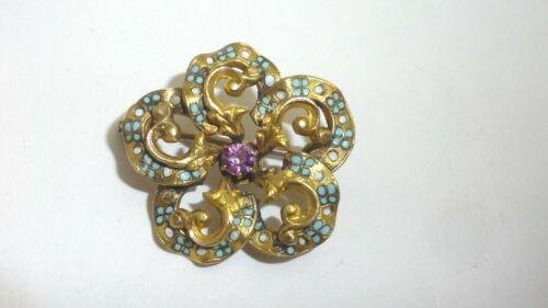 Antique Gold Filled Enamel Rhinestone Flower Brooch Pin