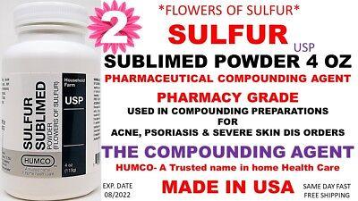 Humco Sulfur Sublimed Powder Usp 4 Oz Flowers Of Sulfur Exp. Date 082022 2
