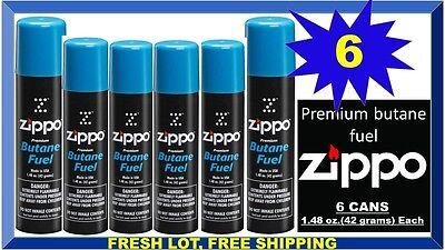 Genuine Zippo Premium Lighter Butane Fuel Gas Refill 1.48 oz. 42 g., (6 Cans)