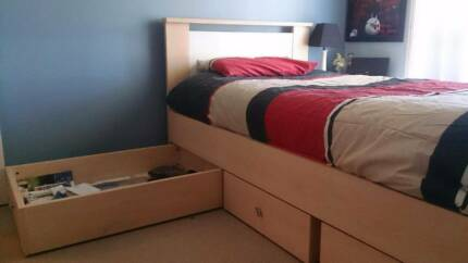 King single bed with 3 massive storage drawers and Sealy mattress