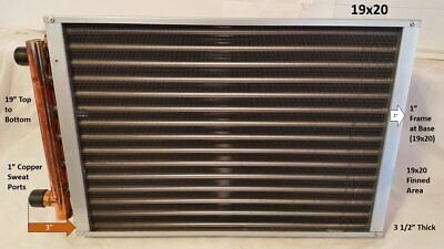 19x20 Water To Air Heat Exchanger1 Copper Ports