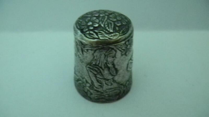 Antique Embossed STERLING Thimble ALICE in WONDERLAND Rabbit Initials RJK