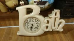 Vintage New Haven Quartz BATH Wall Clock,cream,burwood,1983,works great,vg!
