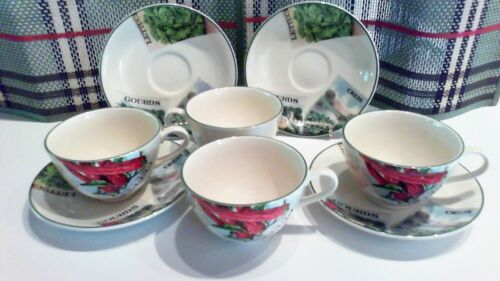 POOLE POTTERY SEED PACKETS PATTERN SET OF 4 COFFEE /TEA CUPS WITH SAUCERS - MINT