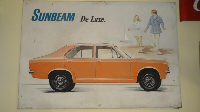 SUNBEAM DELUXE 1971 BRITISH CARS RARE ADVERTISING PAINTING on CANVAS 190x120cm