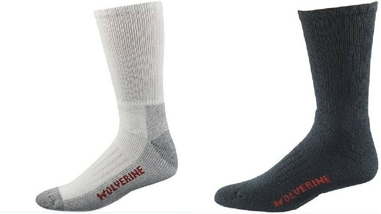 Wolverine Socks Men's 2 PK Cotton WORK CREW Mid Calf Steel T
