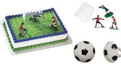 Soccer Players Cake Topper PLUS 24 3D Soccer Ball Cupcake Rings - Soccer Cupcake Toppers