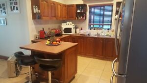 Second hand kitchen walnut  timber Greenacre Bankstown Area Preview
