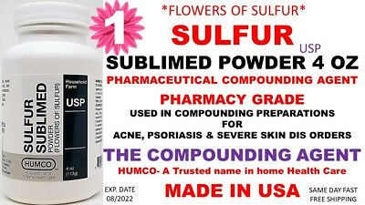 Humco Sulfur Sublimed Powder Usp 4 Oz Flowers Of Sulfur Exp. Date 082022 1
