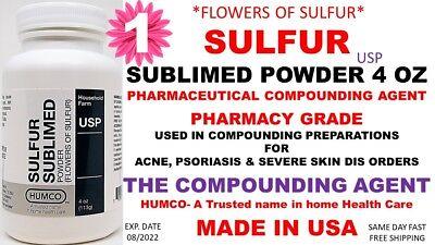 Humco Sulfur Sublimed Powder Usp 4 Oz Flowers Of Sulfur Exp. Date 082022 1