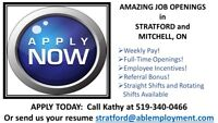 Full-Time Openings in Stratford and Area - CALL 519-340-0466