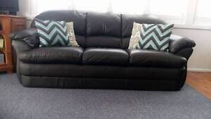 Brown Leather Three Seater Couch Northmead Parramatta Area Preview