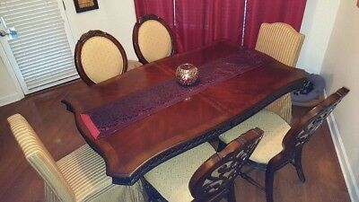 Elegant solid wood dining room table with two pedestals. 72