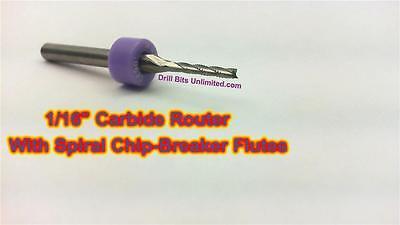 Ten Pieces 116 Carbide Router Bit - Spiral Chip Breaker Flutes Cnc Pcb