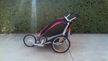 Thule Chariot Cougar 2 Red Deluxe Running & Bicycle Pram
