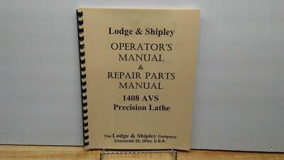 Lodge Shipley 1408 Avs Lathes Operators Repair Parts Manual