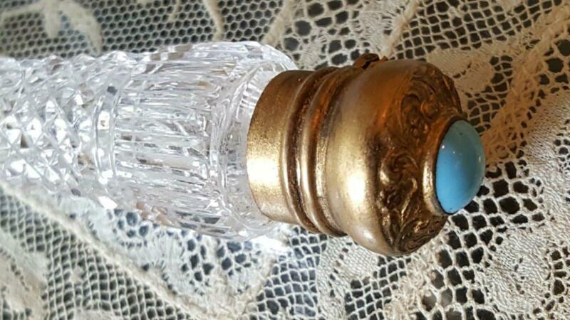 Antique Sterling Jeweled Top Perfume Scent Bottle