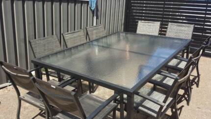 10 seater, glass top outdoor table with chairs Rankin Park Newcastle Area Preview