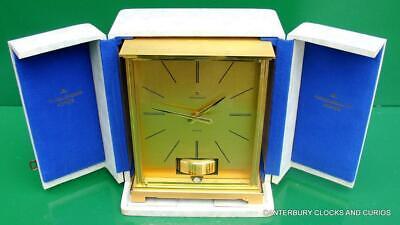 JAEGER LECOULTRE VINTAGE BURGANDY EMBASSY ATMOS CLOCK ORIGINAL BOX SERVICED